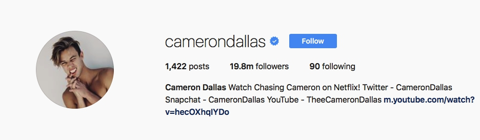 Cameron Dallas - @camerondallas